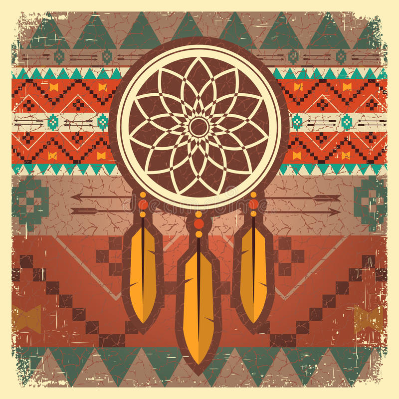 Affiche rêveuse de receveur de vecteur avec l'ornement ethnique illustration libre de droits