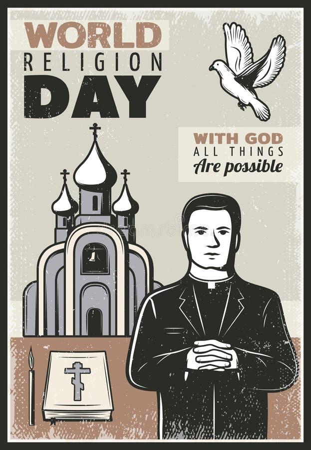 Affiche religieuse de vintage illustration libre de droits