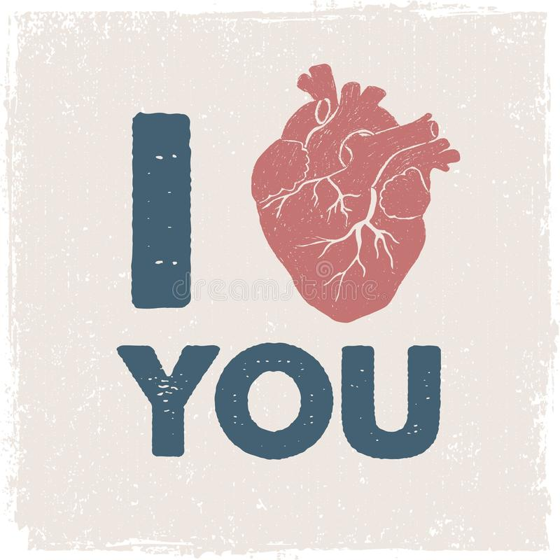 Affiche romantique avec le coeur humain illustration de vecteur