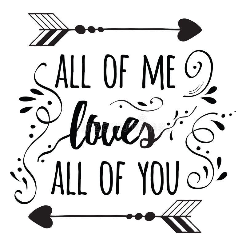Affiche romantique de typographie au sujet de l'amour guillemet illustration de vecteur