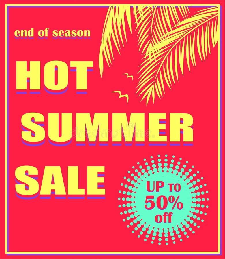 Affiche rouge chaude avec le lettrage chaud de vente d'été, le label de couleur d'offre, les palmettes et la mouette en bon état  illustration de vecteur