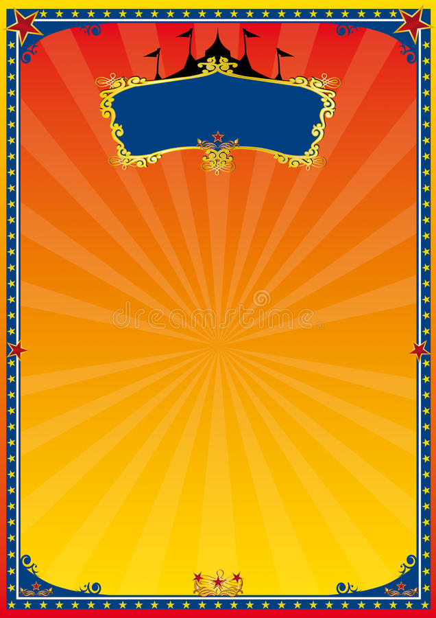Affiche rouge et jaune de cirque illustration stock