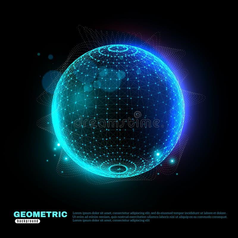 Affiche rougeoyante géométrique de fond de sphère illustration stock