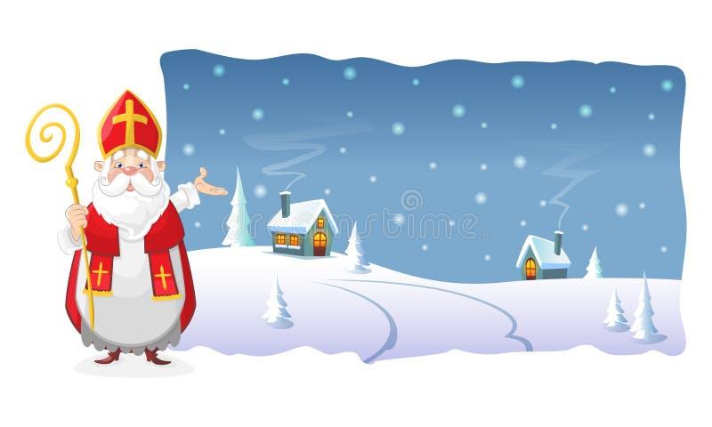 Affiche - Sinterklaas toont de de winternacht bij dorp binnen vorm polylined royalty-vrije illustratie