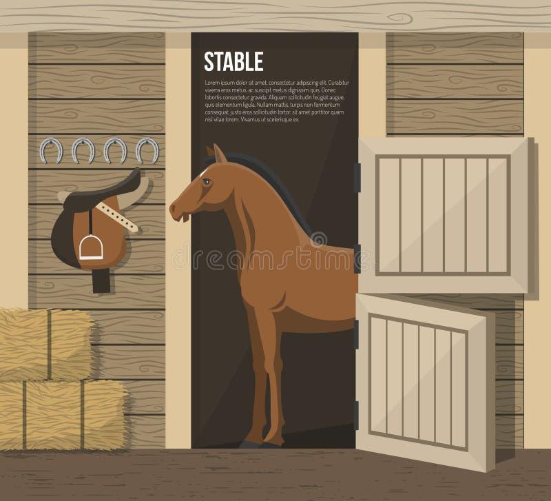Affiche stable de stalle de ferme d'élevage de cheval illustration stock