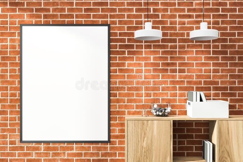 Affiche sur l'étagère dans la pièce, la bibliothèque et des lampes de brique illustration de vecteur