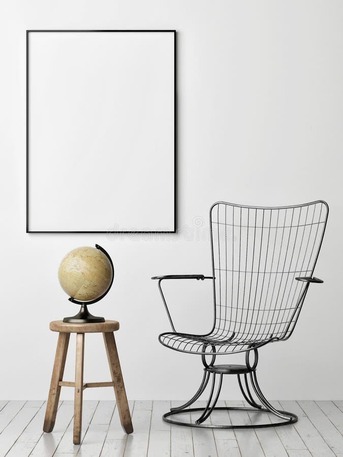 Affiche sur le mur, le fauteuil en métal et le vieux globe illustration stock