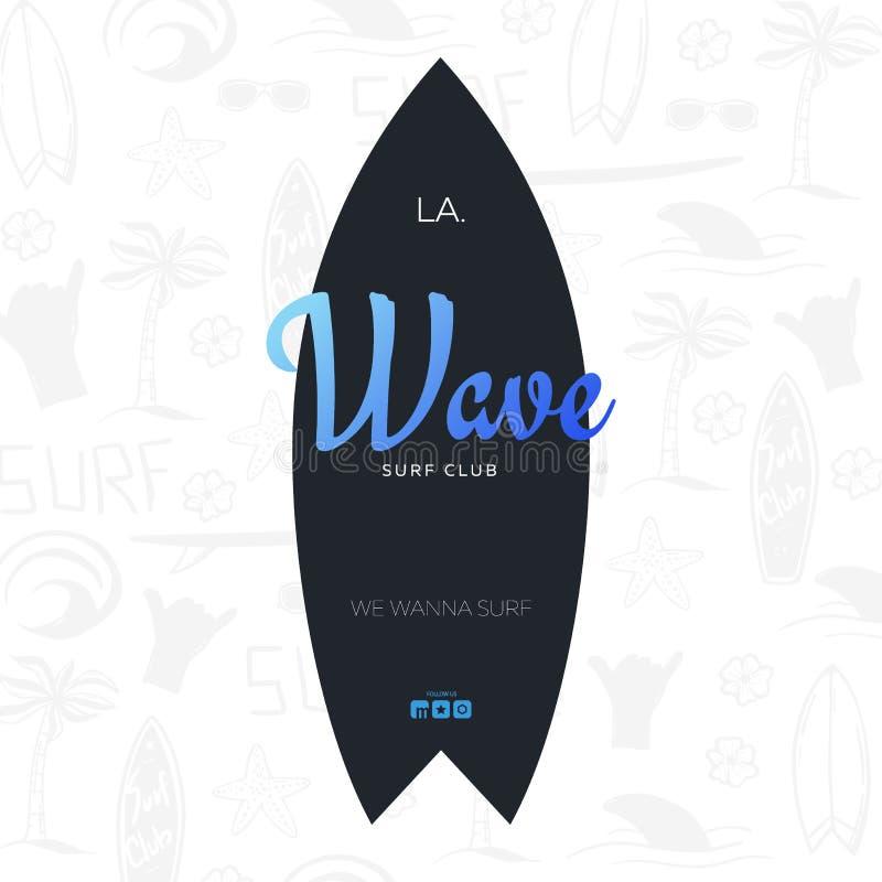 Affiche surfante d'été pour le club de ressac ou magasin avec le fond et la planche de surf d'aspiration de main illustration libre de droits
