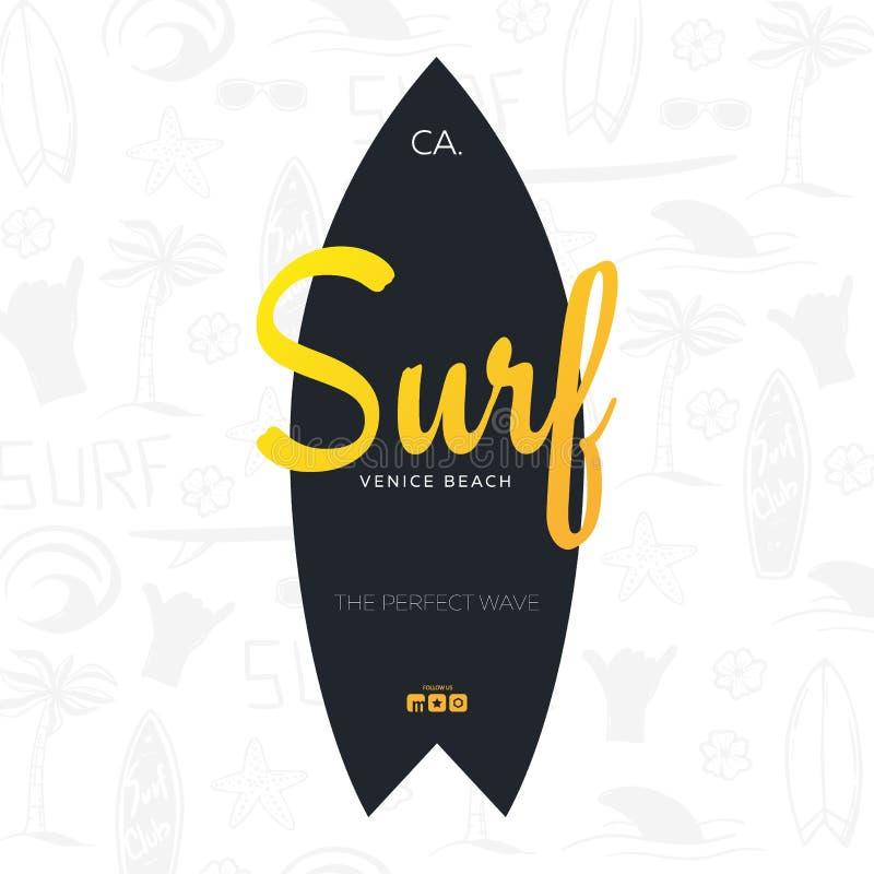 Affiche surfante d'été pour le club de ressac ou magasin avec le fond et la planche de surf d'aspiration de main illustration de vecteur