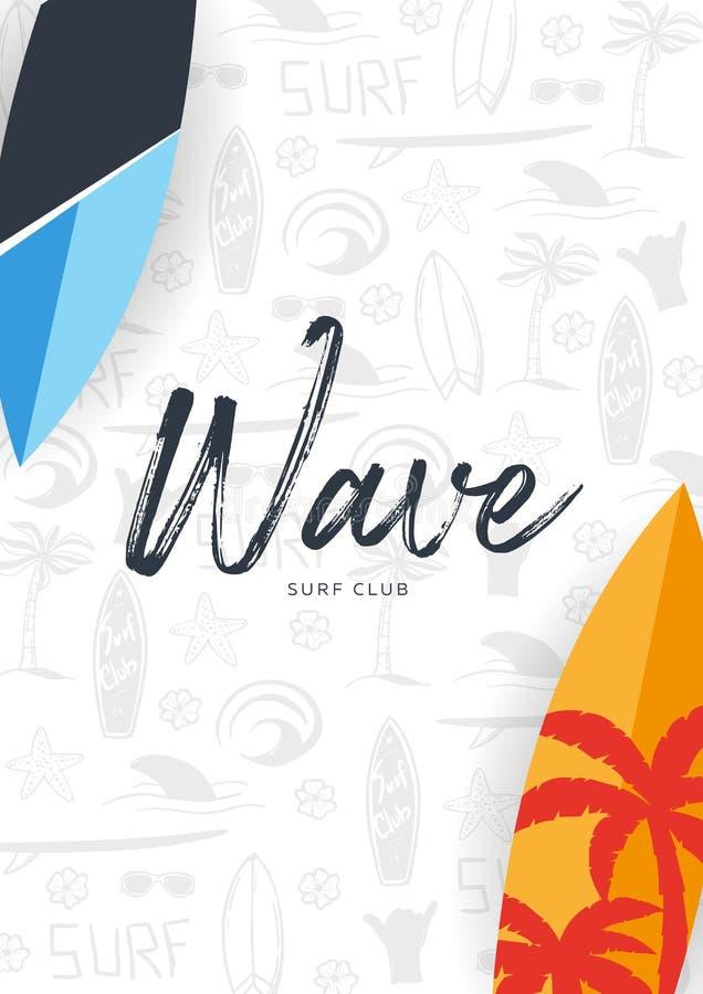 Affiche surfante d'été pour le club de ressac ou magasin avec le fond et la planche de surf d'aspiration de main illustration stock
