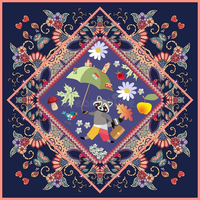 Affiche of tapijt met leuk beeldverhaaldier op mooi sierkader voor kinderen Wasbeer - jongen met feeparaplu vector illustratie