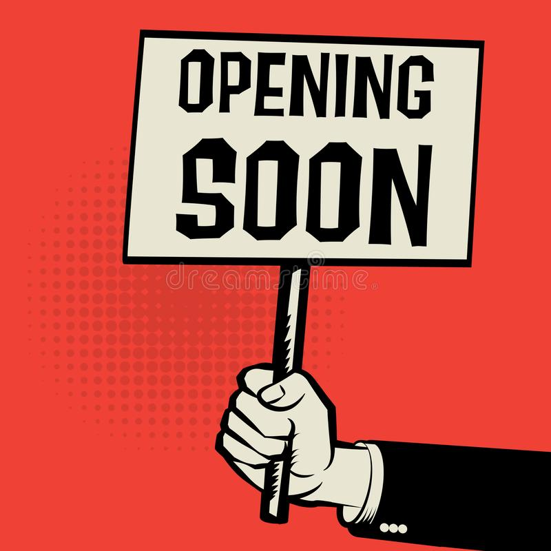 Affiche ter beschikking, bedrijfsconcept die met tekst spoedig openen stock illustratie