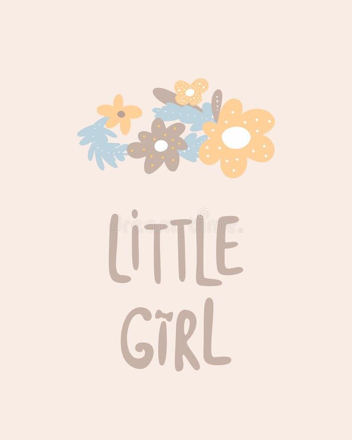 Affiche tirée par la main colorée unique de crèche de petite fille avec des fleurs de bande dessinée marquant avec des lettres da illustration libre de droits