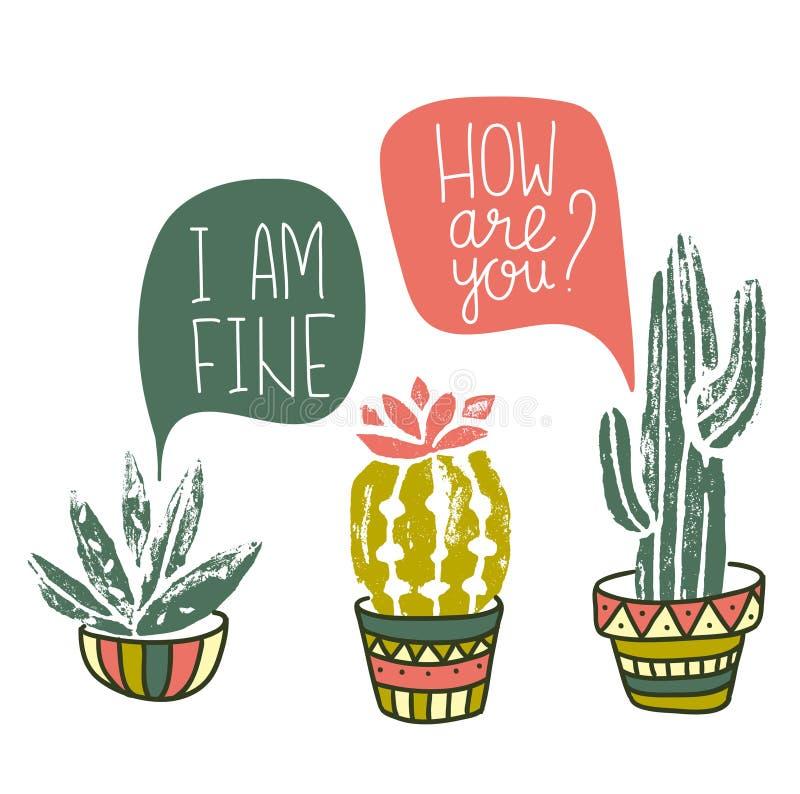 Affiche tirée par la main de cactus de vecteur Linocuts grunges d'impression de silhouette illustration de vecteur