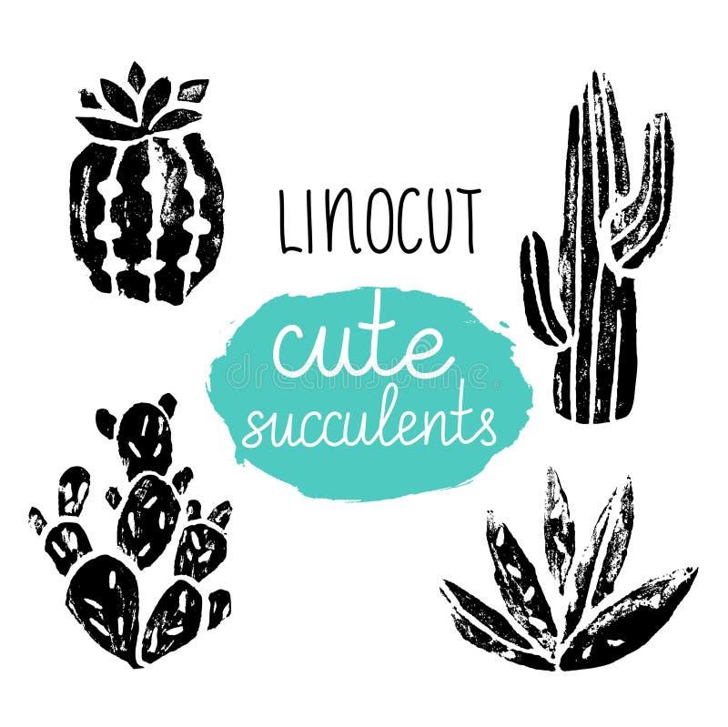 Affiche tirée par la main de cactus de vecteur Linocuts grunges d'impression de silhouette illustration stock