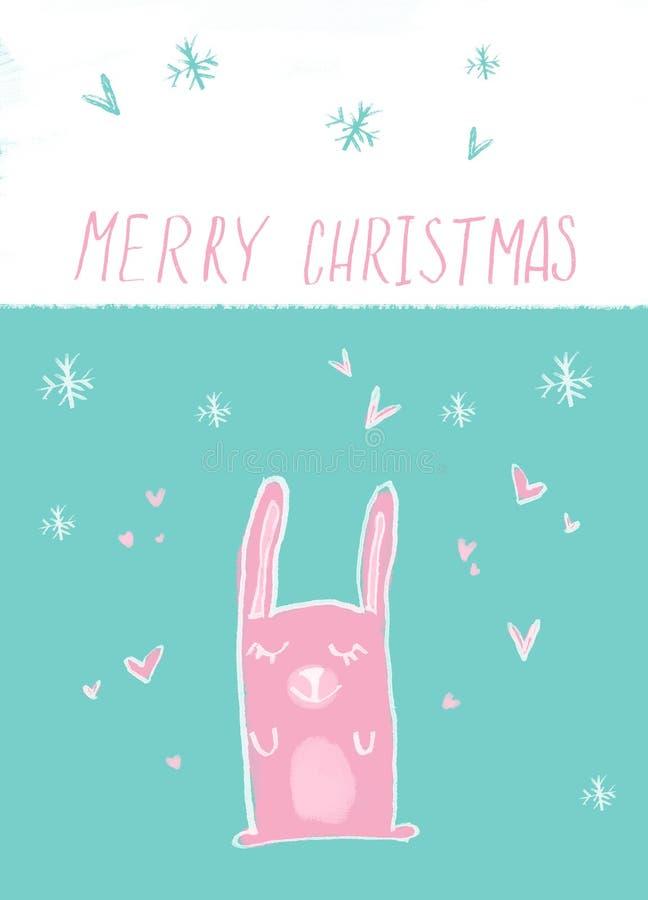 Affiche tirée par la main de carte de Joyeux Noël Illustration drôle mignonne d'enfant de lapin la bande dessinée a fait le lapin illustration de vecteur