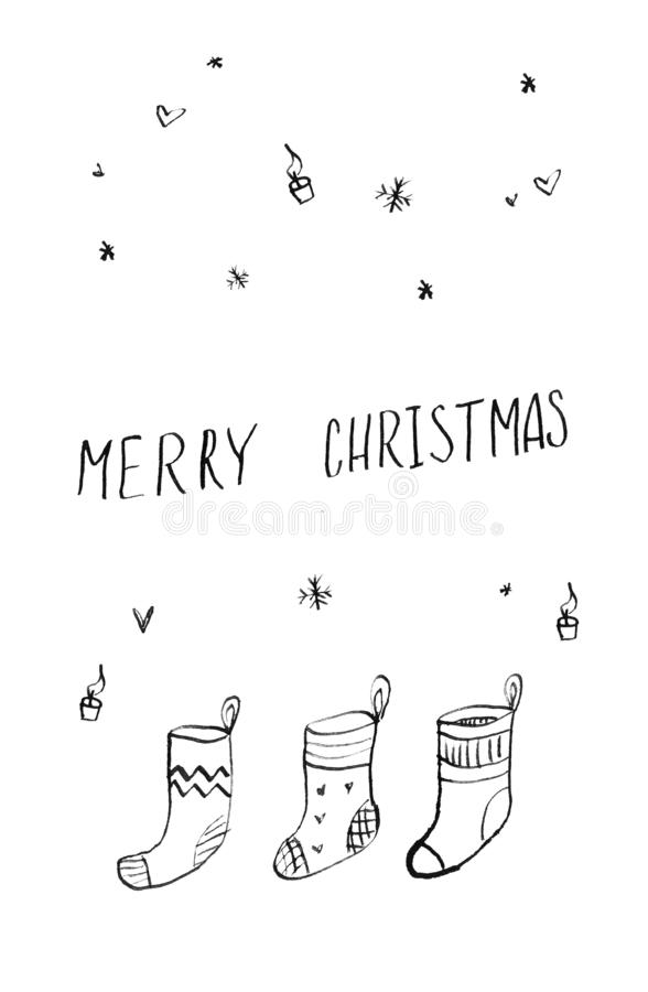 affiche tirée par la main de carte de Noël et de bonne année d'invitation de partie Joyeux Les chaussettes drôles mignonnes de ca illustration libre de droits