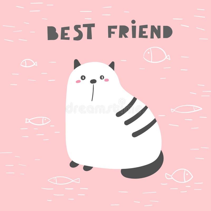 Affiche tirée par la main de griffonnage mignon, carte, carte postale avec le gros chat Animal drôle pour des enfants illustration libre de droits