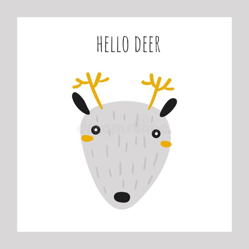 Affiche tirée par la main de griffonnage mignon, carte, carte postale avec le visage de cerfs communs illustration stock