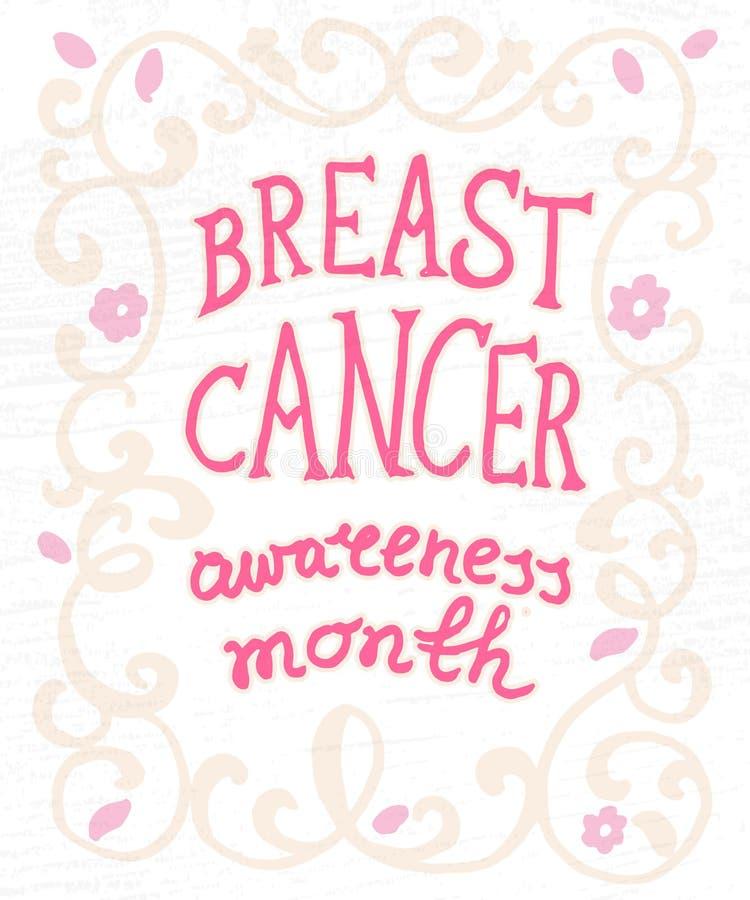 Affiche tirée par la main de typographie de concept de cancer du sein illustration stock