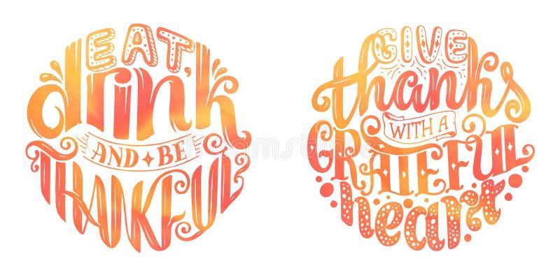Affiche tirée par la main de typographie de thanksgiving Citations de lettrage de célébration illustration stock