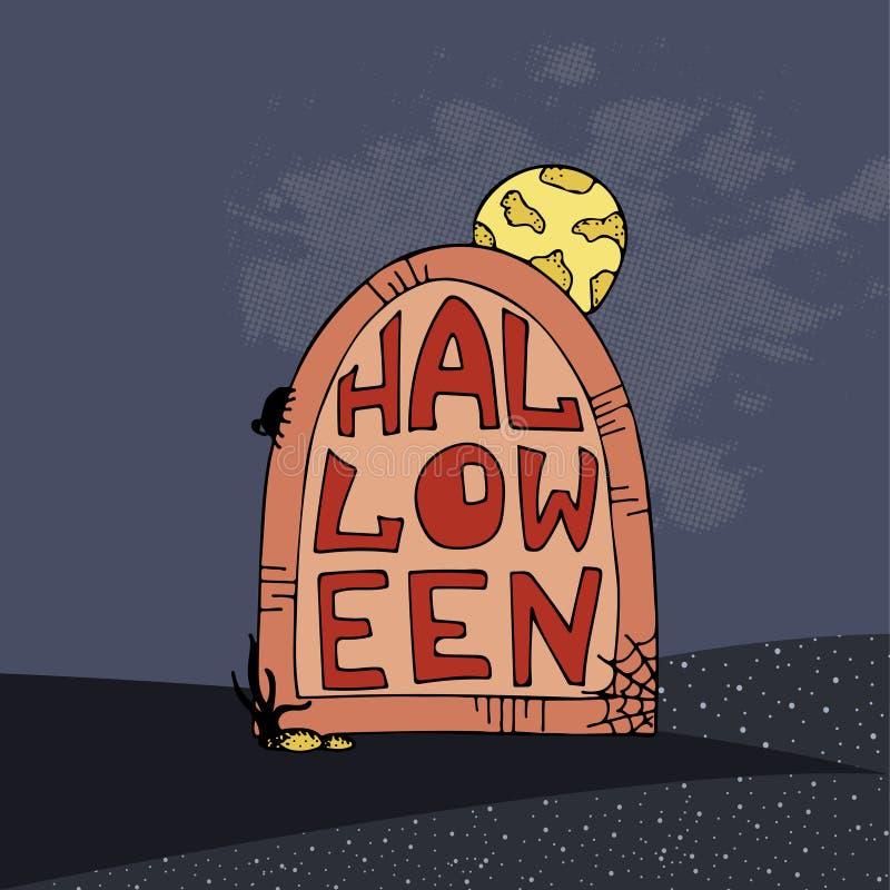 Affiche tirée par la main de vecteur pour la partie de Halloween gravestone illustration de vecteur