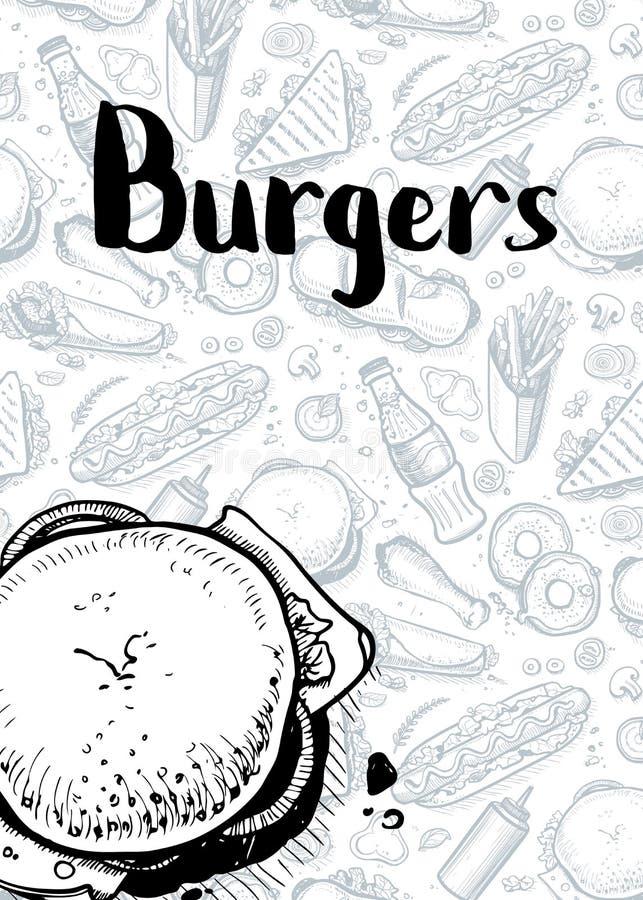 Affiche tirée par la main de vintage d'hamburgers illustration de vecteur