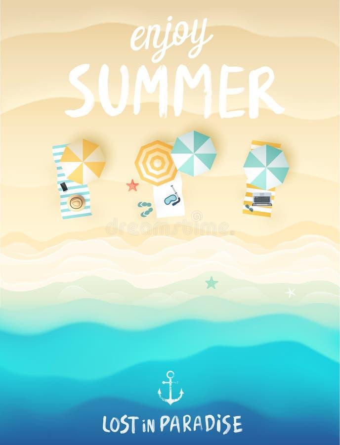 Affiche tropicale de plage illustration stock