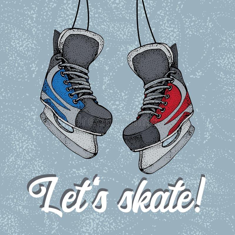 Affiche typographique de vacances d'hiver avec le croquis de bande dessinée de raies de glace Patinons texte Patins de hockey sur illustration stock