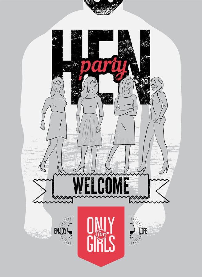 Affiche typographique pour la partie de poule avec de jolies filles Illustration de vecteur illustration stock