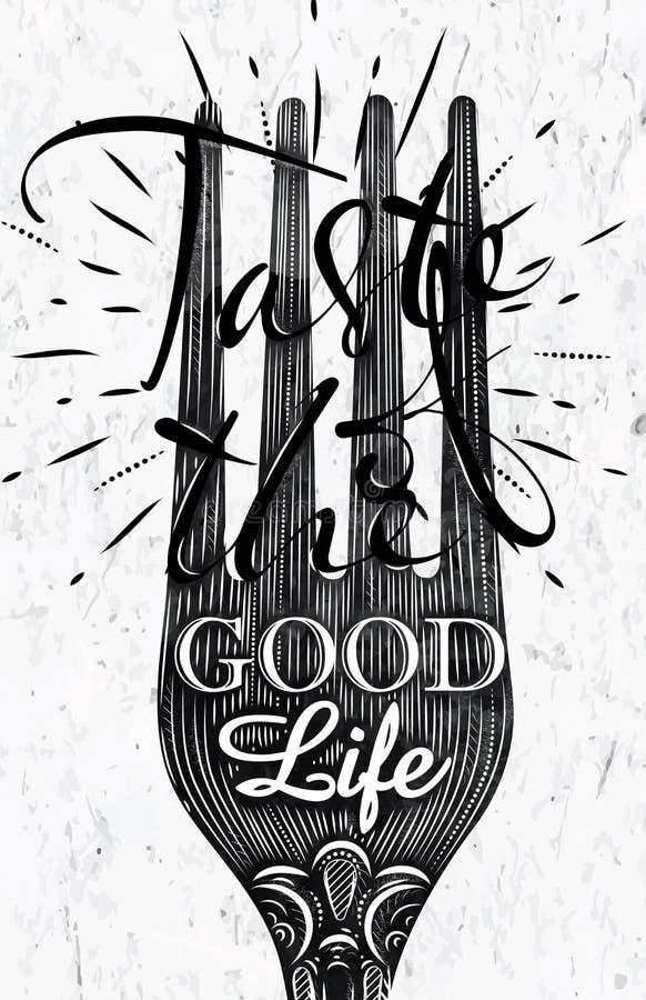 Affiche uitstekende vork stock illustratie