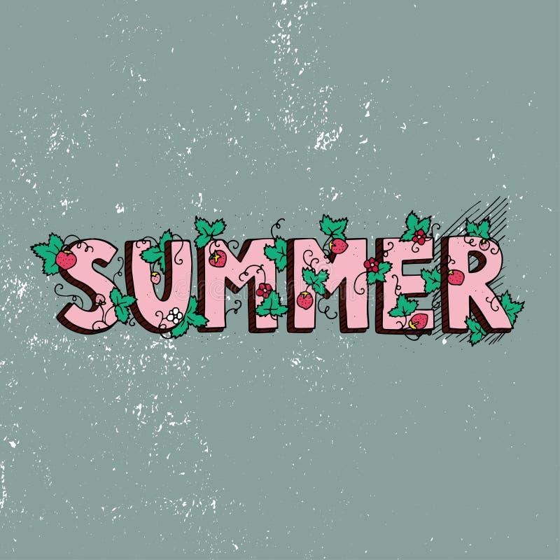 Affiche unique de lettrage avec l'été de mot Lumière du vecteur art Illustration manuscrite à la mode d'été illustration stock