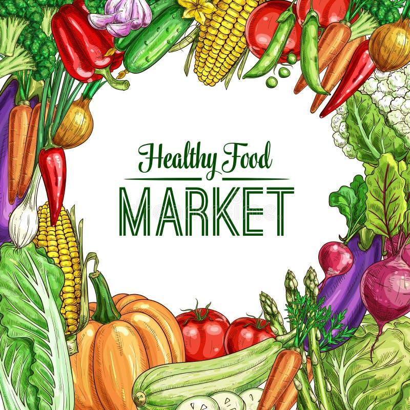 Affiche végétale de cadre avec le croquis frais de veggies illustration de vecteur