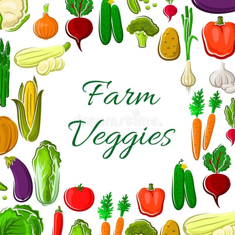 Affiche végétale de ferme avec la frontière de cadre de veggies illustration stock