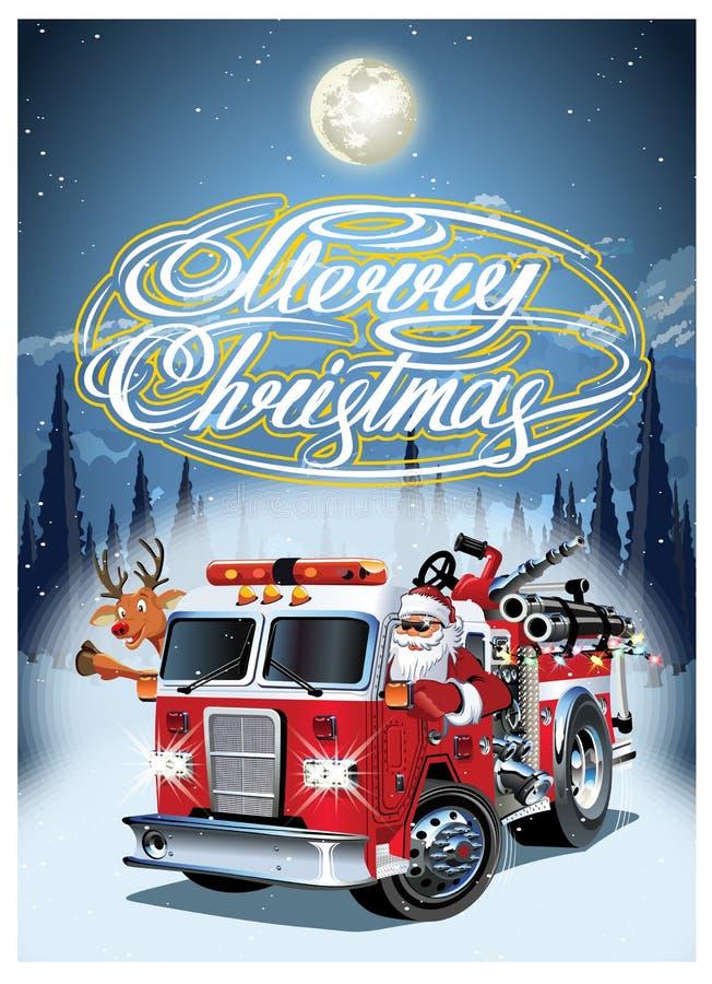 Affiche van beeldverhaal retro Kerstmis met firetruck en Santa Claus royalty-vrije illustratie