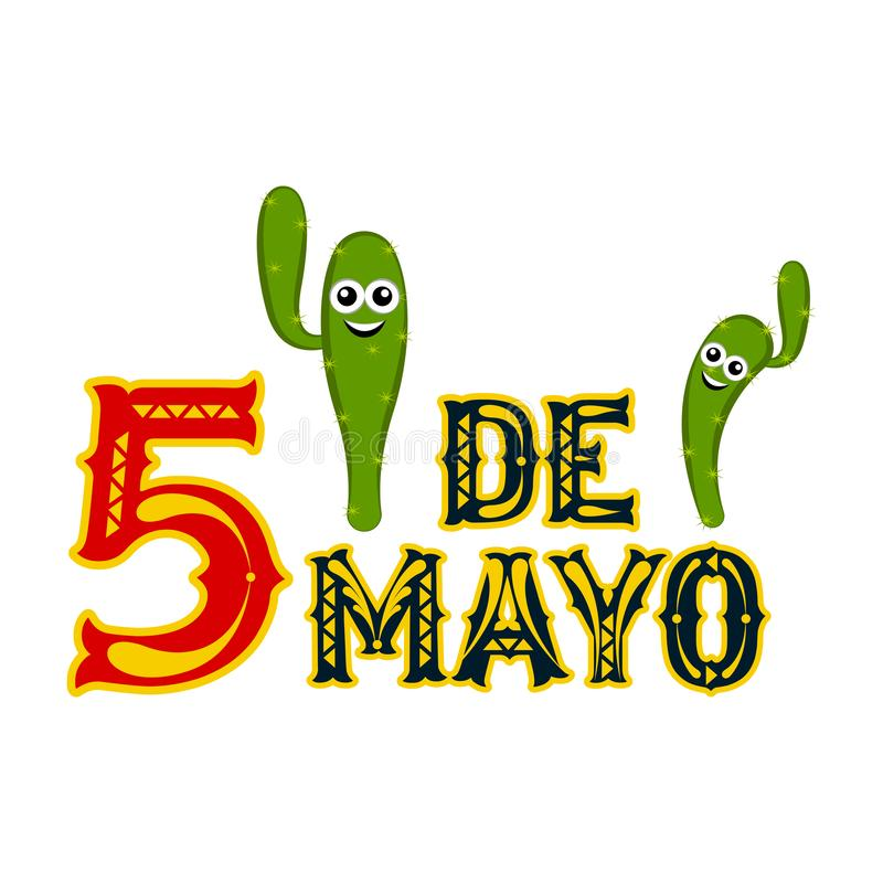 Affiche van cinco DE Mayo stock illustratie