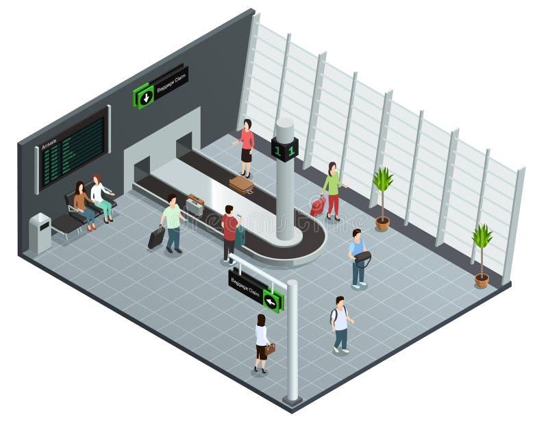 Affiche van de de Carrousel de Isometrische Samenstelling van de luchthavensbagage stock illustratie