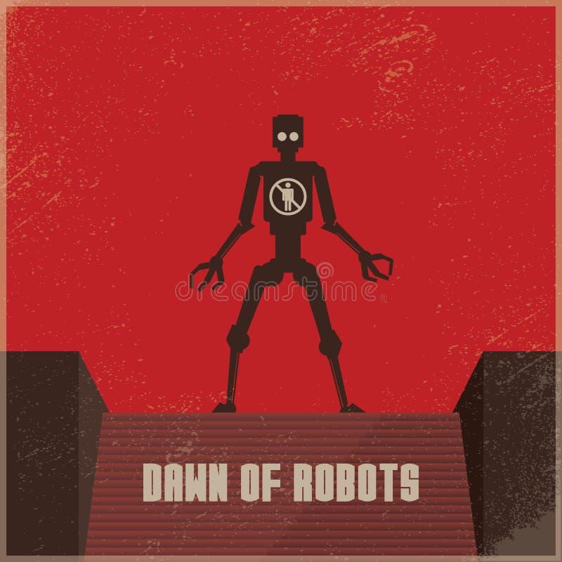 Affiche van de Dystopian de toekomstige robot met robot als bedreiging voor mensen Vectorconcept conflict, oorlog tussen robots e stock illustratie
