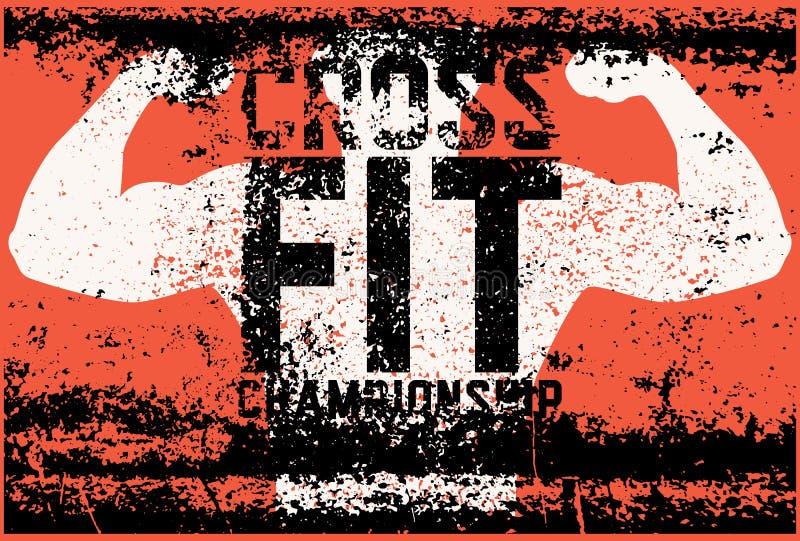 Affiche van de grungestijl van het Crossfitkampioenschap de typografische uitstekende Retro vectorillustratie royalty-vrije illustratie