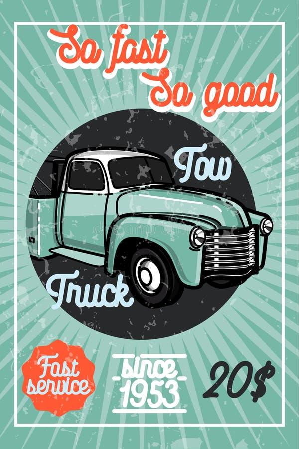 Affiche van de het slepenvrachtwagen van de kleuren de uitstekende auto vector illustratie