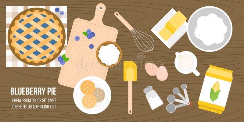 Affiche van de ingrediënten en de werktuigen van de bosbessenpastei royalty-vrije illustratie