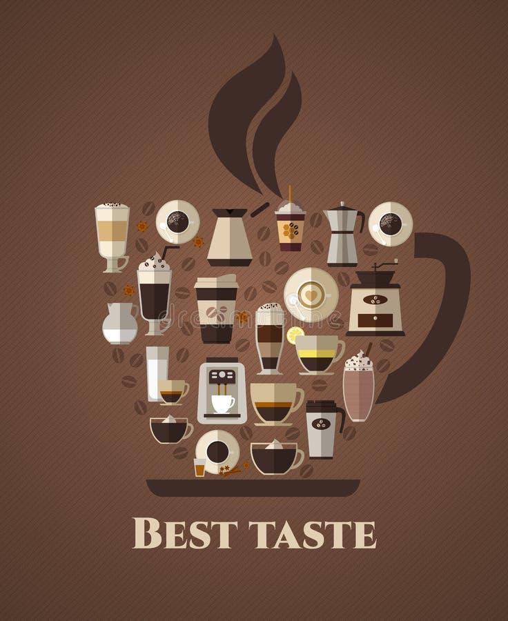 Affiche van de koffie de beste smaak royalty-vrije illustratie