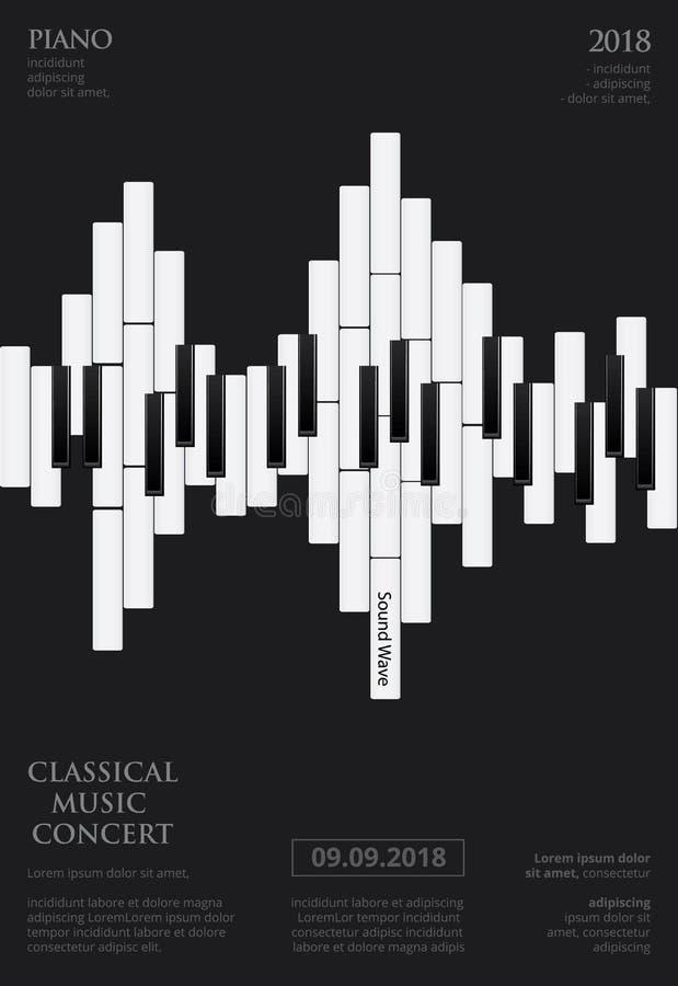 Affiche van de muziek de Grote Piano stock illustratie