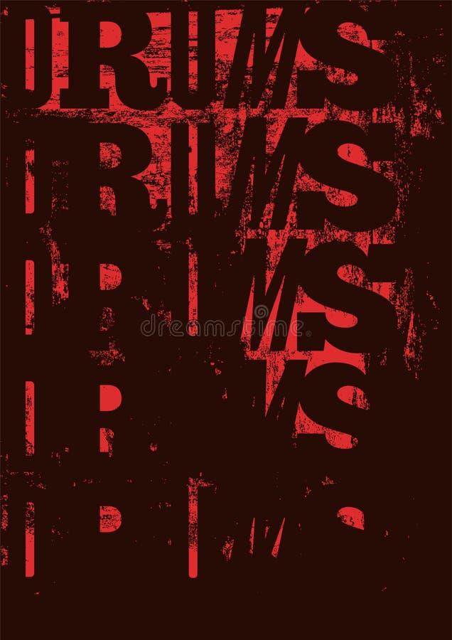 Affiche van de trommels de uitstekende stijl grunge Retro typografische illustratie stock illustratie