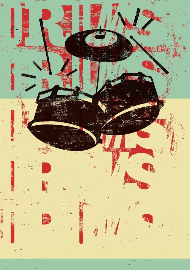 Affiche van de trommels de uitstekende stijl grunge Retro typografische vectorillustratie royalty-vrije illustratie