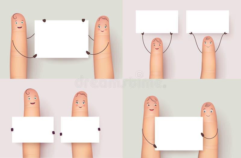 Affiche van de vinger de vastgestelde holding copyspace stock illustratie