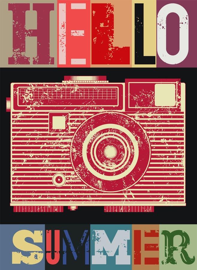 Affiche van de zomer de typografische retro grunge met camera Vector illustratie stock illustratie