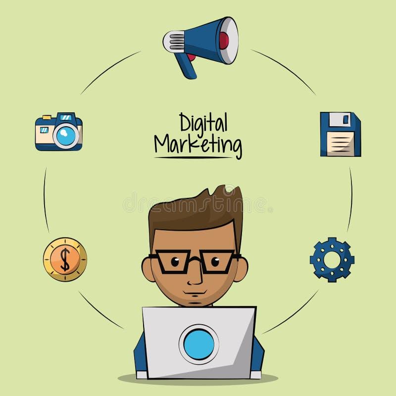 Affiche van digitale marketing met de ontwerper rond mens in laptop computer close-up en marketing pictogrammen vector illustratie