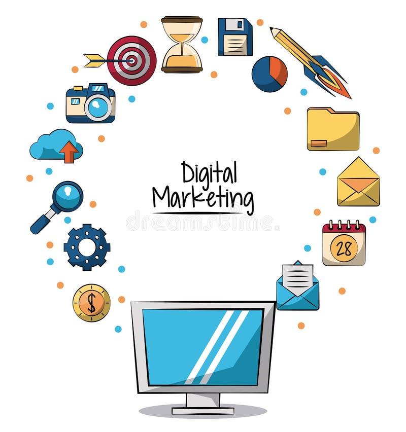 Affiche van digitale marketing met lcd monitor in close-up en marketing pictogrammen rond op hem stock illustratie