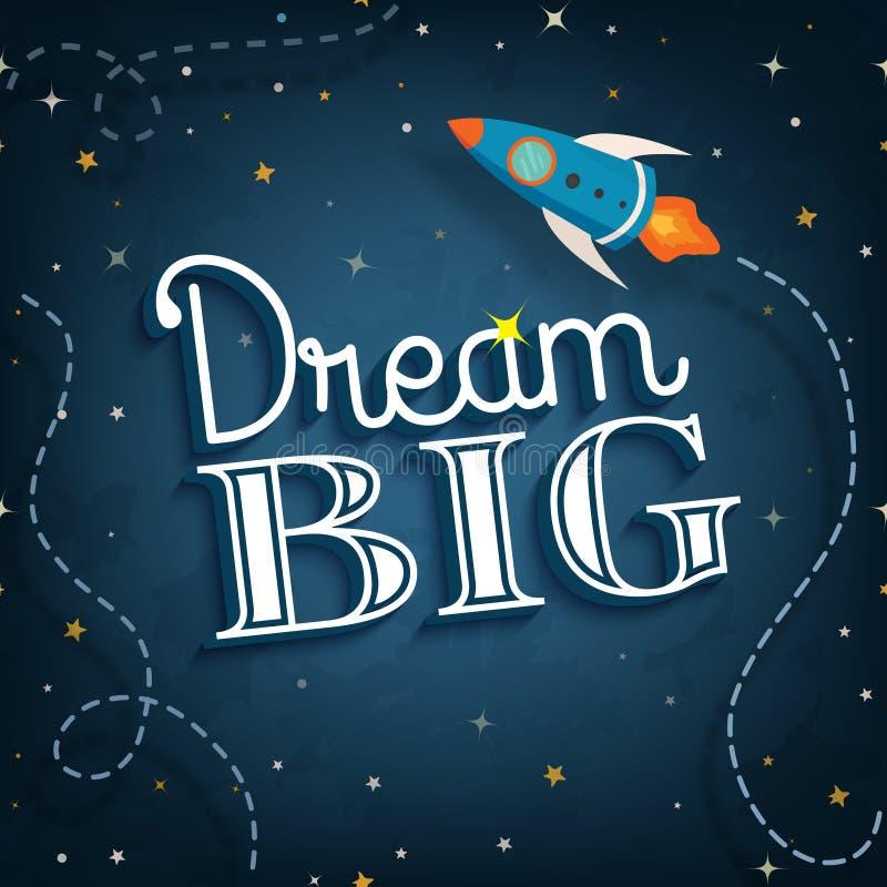 Affiche van het droom de grote, inspirational typografische citaat, vector stock illustratie